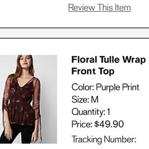 Express Tops - Express Floral Tulle Wrap Front Top
